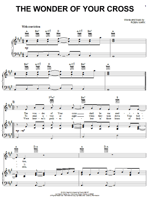 Download Robin Mark The Wonder Of Your Cross sheet music and printable PDF score & World music notes