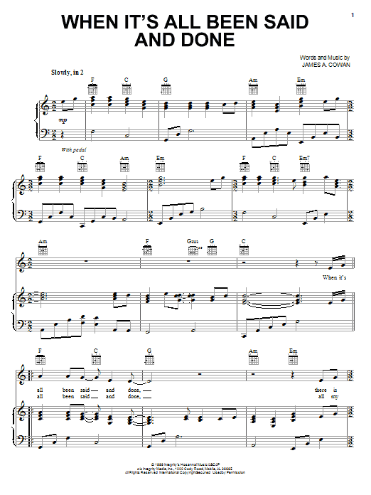 Download Robin Mark When It's All Been Said And Done sheet music and printable PDF score & World music notes
