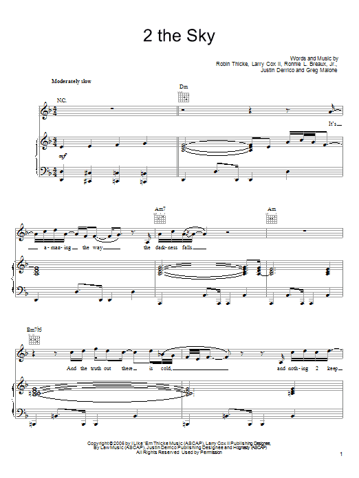 Download Robin Thicke 2 The Sky sheet music and printable PDF score & Pop music notes