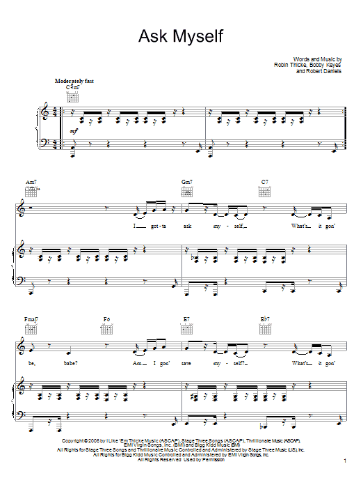 Download Robin Thicke Ask Myself sheet music and printable PDF score & Pop music notes