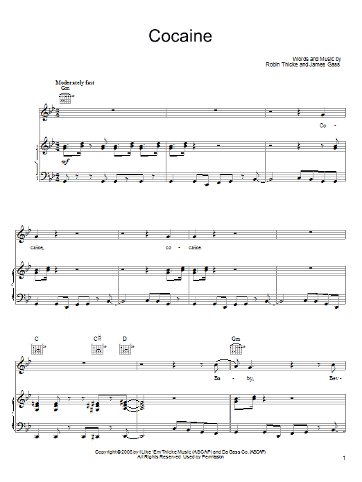 Download Robin Thicke Cocaine sheet music and printable PDF score & Pop music notes