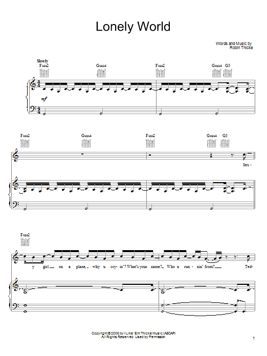 Download Robin Thicke Lonely World sheet music and printable PDF score & Pop music notes