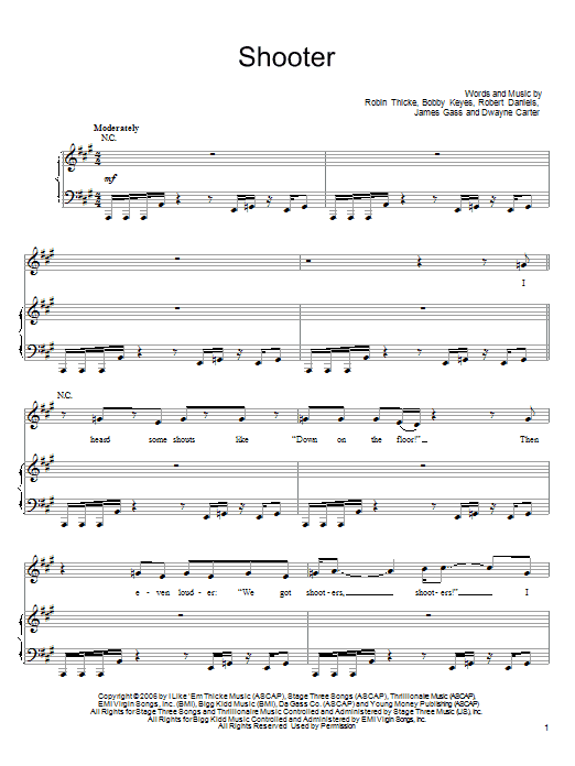 Download Robin Thicke Shooter sheet music and printable PDF score & Pop music notes