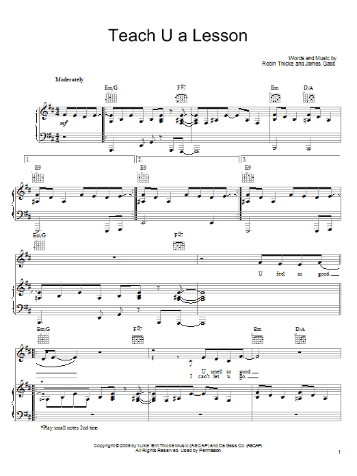 Download Robin Thicke Teach U A Lesson sheet music and printable PDF score & Pop music notes
