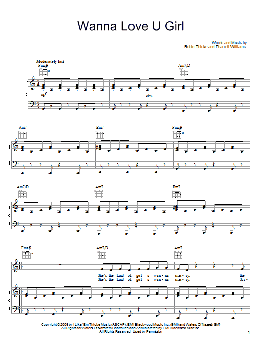 Download Robin Thicke Wanna Love U Girl sheet music and printable PDF score & Pop music notes