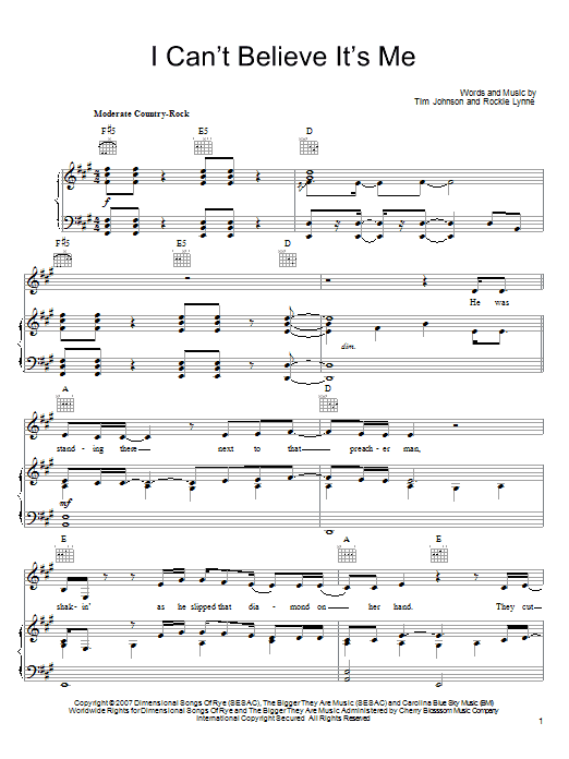 Download Rockie Lynne I Can't Believe It's Me sheet music and printable PDF score & Pop music notes