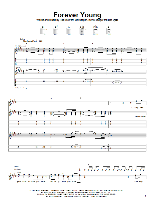 Download Rod Stewart Forever Young sheet music and printable PDF score & Pop music notes