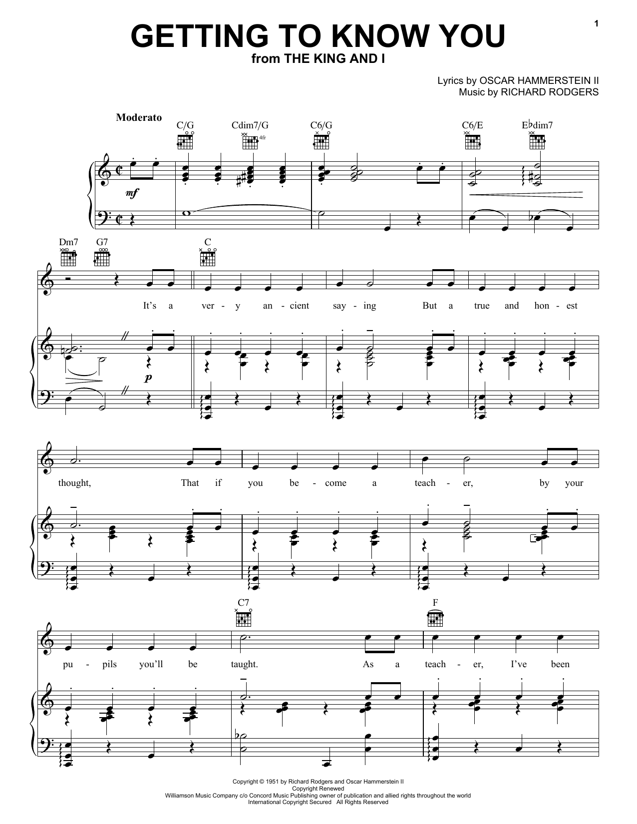 Download Rodgers & Hammerstein Getting To Know You sheet music and printable PDF score & Pop music notes