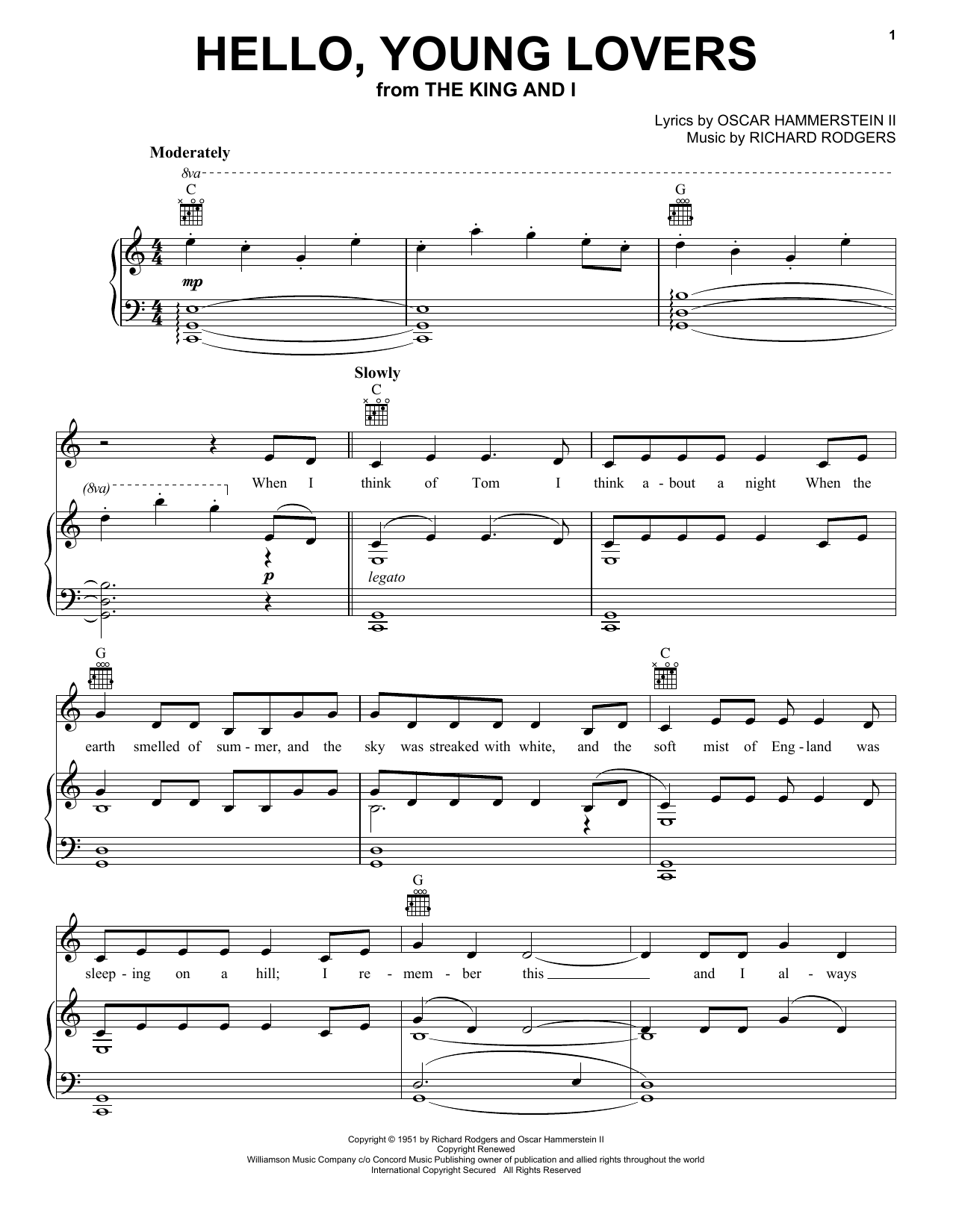 Download Rodgers & Hammerstein Hello, Young Lovers sheet music and printable PDF score & Folk music notes