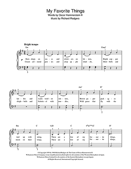 Download Rodgers & Hammerstein My Favorite Things (from The Sound Of Music) sheet music and printable PDF score & Jazz music notes