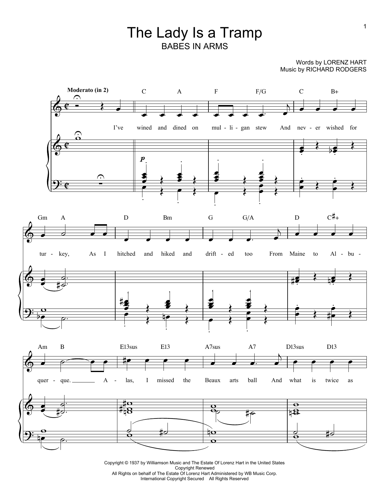 Download Rodgers & Hart The Lady Is A Tramp sheet music and printable PDF score & Jazz music notes