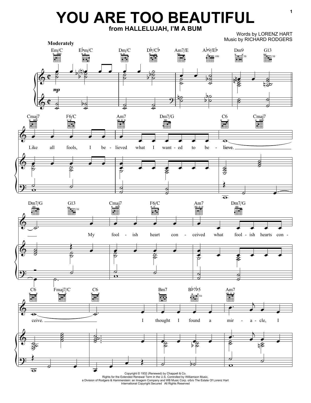 Download Rodgers & Hart You Are Too Beautiful sheet music and printable PDF score & Pop music notes