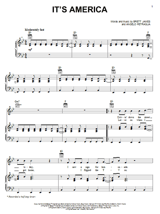 Download Rodney Atkins It's America sheet music and printable PDF score & Country music notes