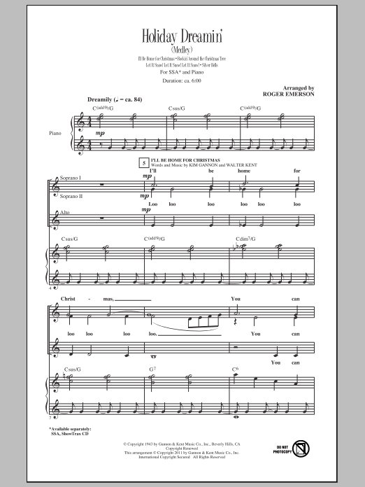 Download Roger Emerson Holiday Dreamin' sheet music and printable PDF score & Concert music notes