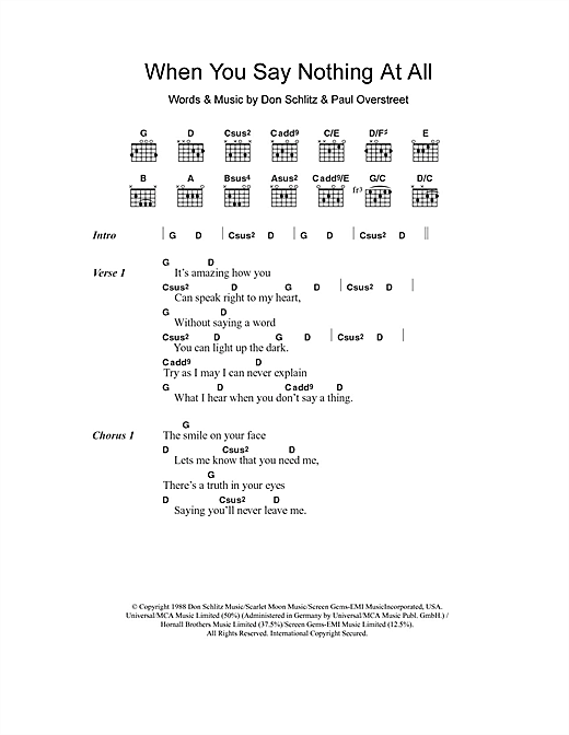 Download Ronan Keating When You Say Nothing At All sheet music and printable PDF score & Pop music notes