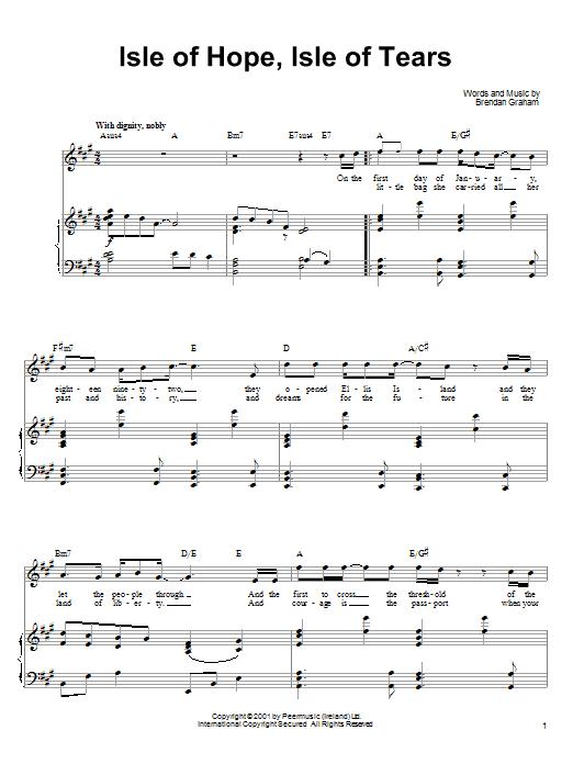 Download Ronan Tynan Isle Of Hope, Isle Of Tears sheet music and printable PDF score & Pop music notes