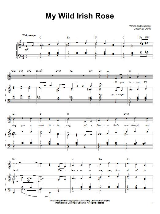 Download Ronan Tynan My Wild Irish Rose sheet music and printable PDF score & World music notes
