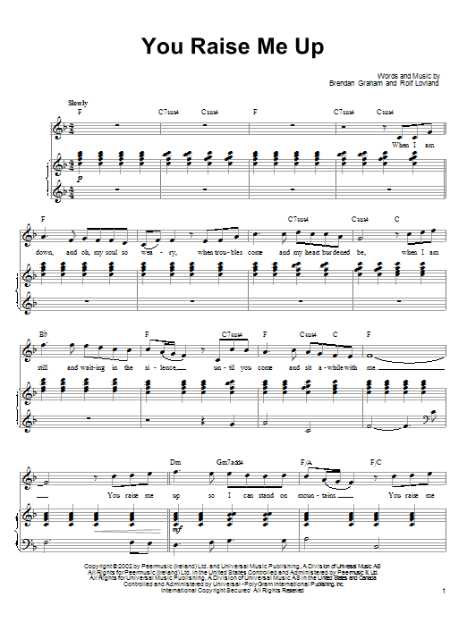 Download Ronan Tynan You Raise Me Up sheet music and printable PDF score & Pop music notes