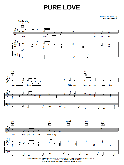 Download Ronnie Milsap Pure Love sheet music and printable PDF score & Pop music notes