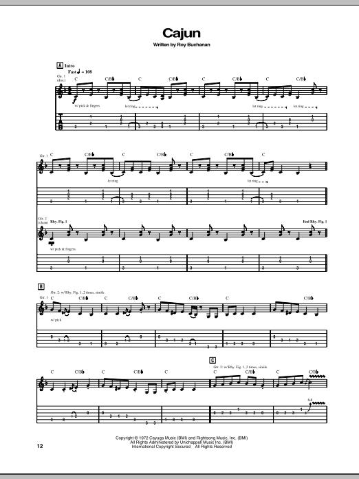 Download Roy Buchanan Cajun sheet music and printable PDF score & Pop music notes