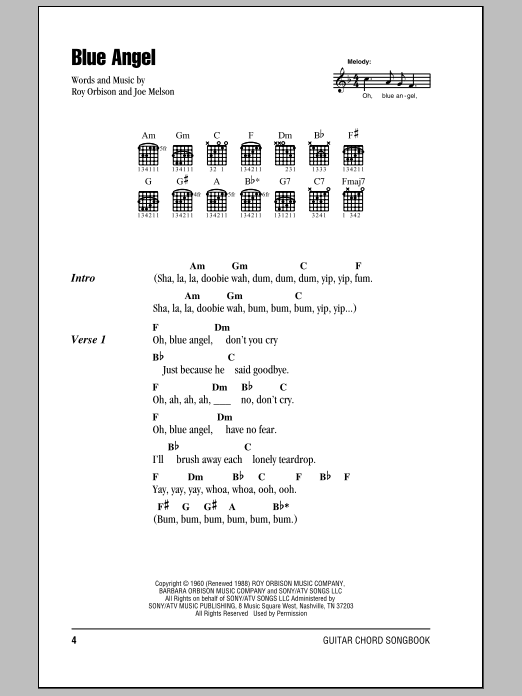 Download Roy Orbison Blue Angel sheet music and printable PDF score & Rock music notes