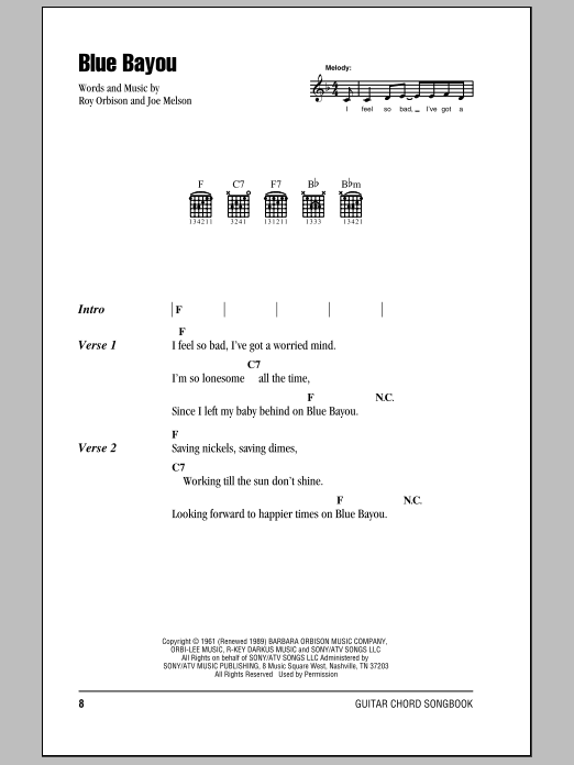 Download Roy Orbison Blue Bayou sheet music and printable PDF score & Pop music notes