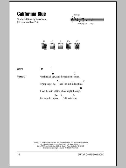 Download Roy Orbison California Blue sheet music and printable PDF score & Rock music notes