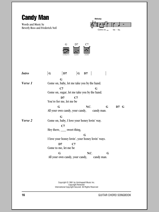 Download Roy Orbison Candy Man sheet music and printable PDF score & Rock music notes