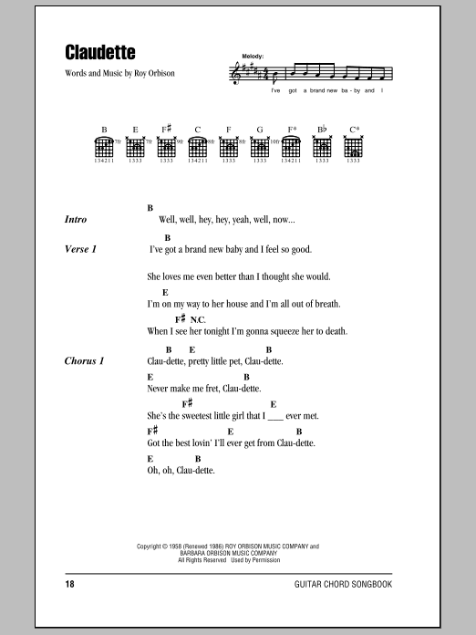 Download Roy Orbison Claudette sheet music and printable PDF score & Rock music notes