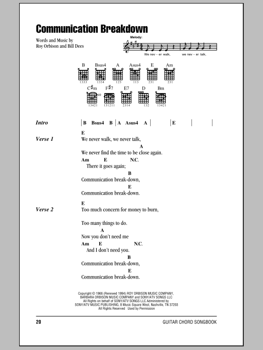 Download Roy Orbison Communication Breakdown sheet music and printable PDF score & Rock music notes