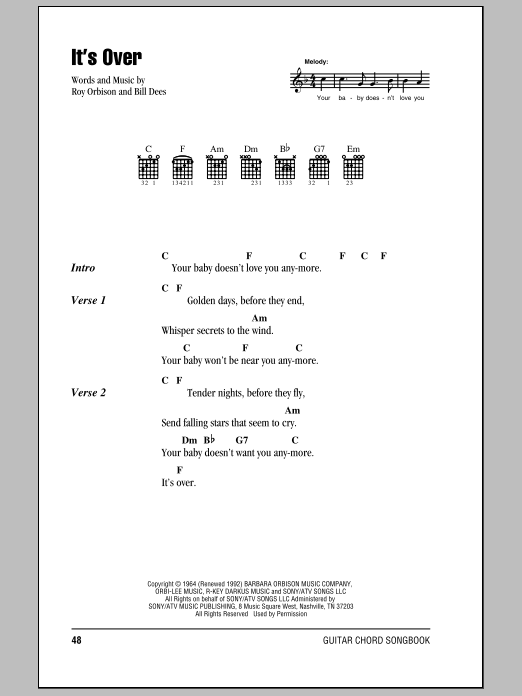 Download Roy Orbison It's Over sheet music and printable PDF score & Rock music notes