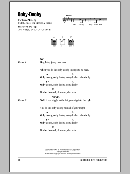 Download Roy Orbison Ooby-Dooby sheet music and printable PDF score & Rock music notes
