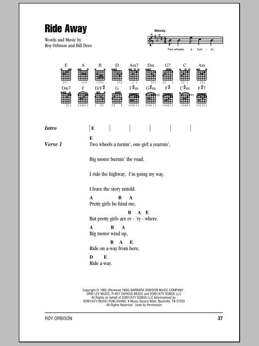 Download Roy Orbison Ride Away sheet music and printable PDF score & Rock music notes