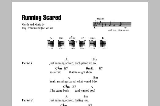 Download Roy Orbison Running Scared sheet music and printable PDF score & Rock music notes