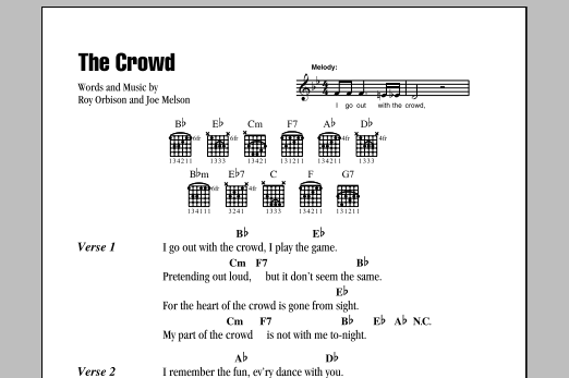 Download Roy Orbison The Crowd sheet music and printable PDF score & Rock music notes