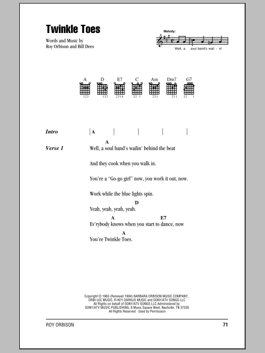 Download Roy Orbison Twinkle Toes sheet music and printable PDF score & Rock music notes