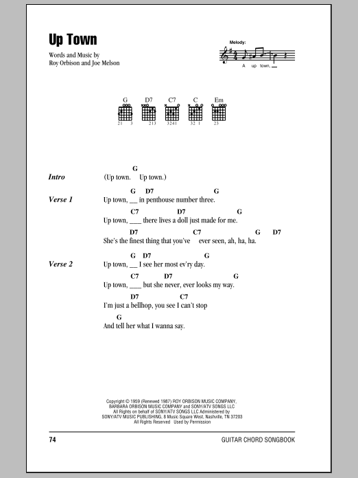 Download Roy Orbison Up Town sheet music and printable PDF score & Rock music notes