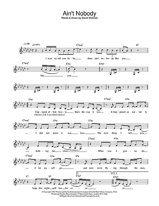 Download Rufus & Chaka Khan Ain't Nobody sheet music and printable PDF score & Soul music notes