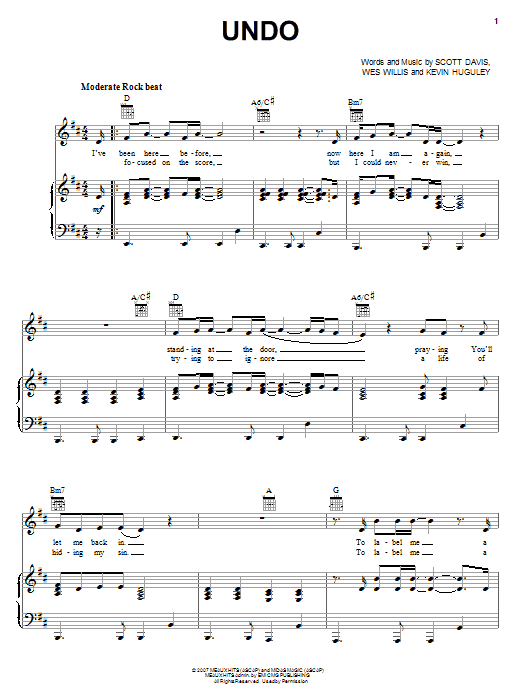 Download Rush Of Fools Undo sheet music and printable PDF score & Pop music notes