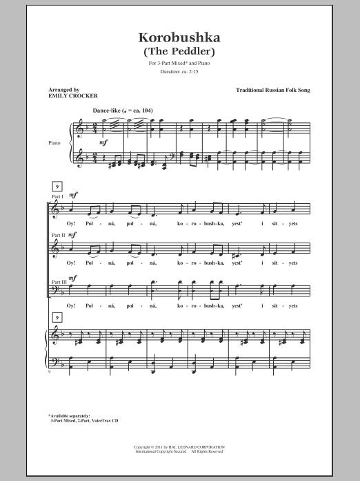 Download Russian Folk Song Korobushka (arr. Emily Crocker) sheet music and printable PDF score & Concert music notes