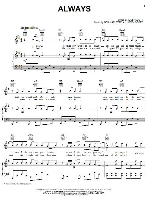 Download Saliva Always sheet music and printable PDF score & Pop music notes