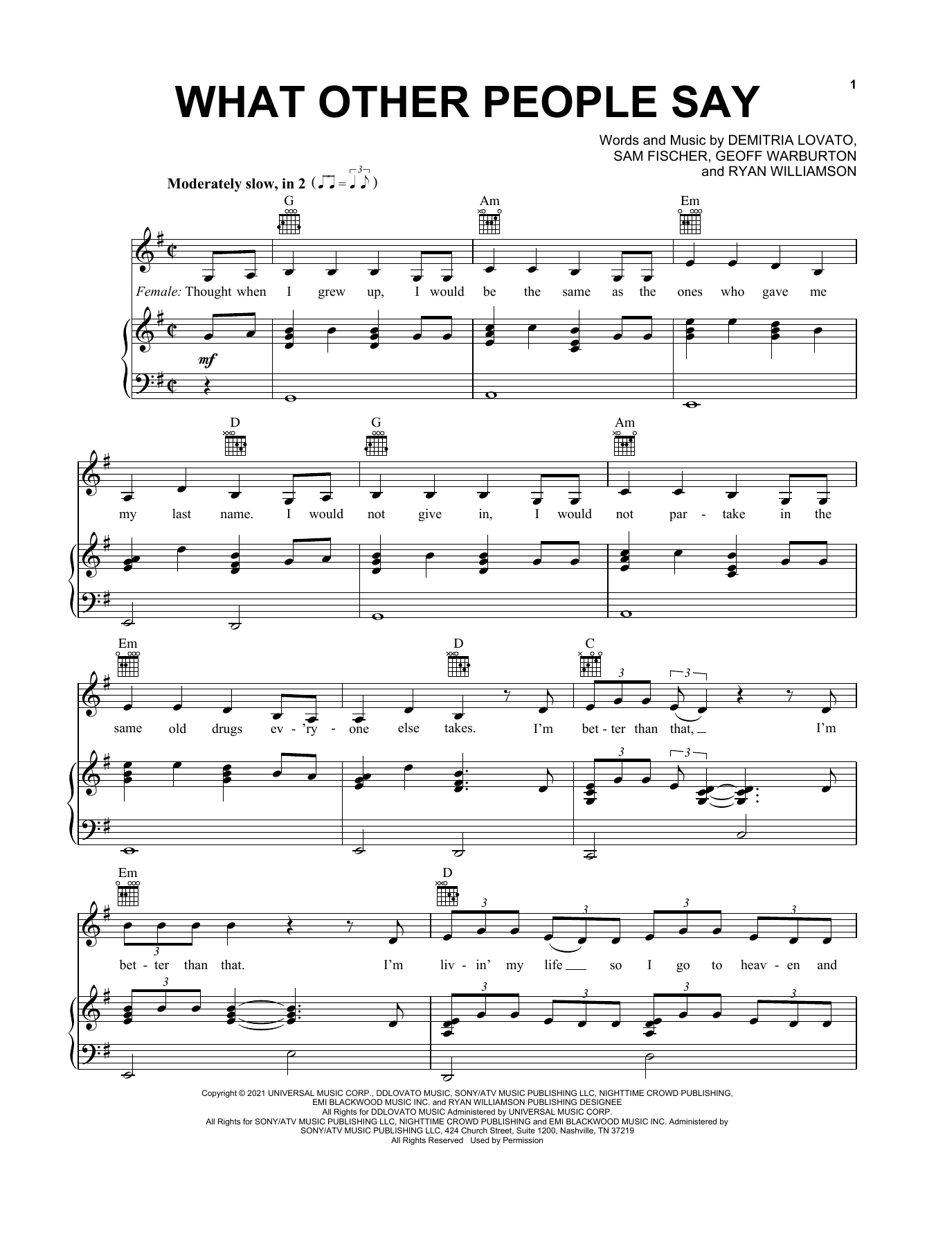 Download Sam Fischer & Demi Lovato What Other People Say sheet music and printable PDF score & Pop music notes