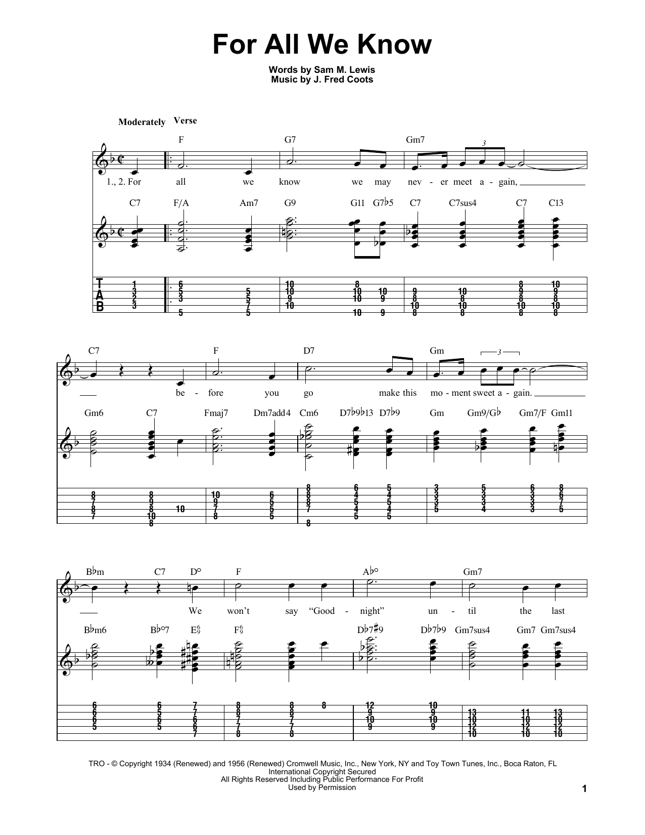Download Sam M. Lewis For All We Know sheet music and printable PDF score & Jazz music notes
