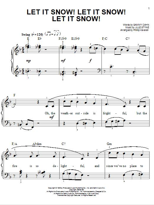 Download Sammy Cahn Let It Snow! Let It Snow! Let It Snow! [Jazz version] (arr. Phillip Keveren) sheet music and printable PDF score & Children music notes