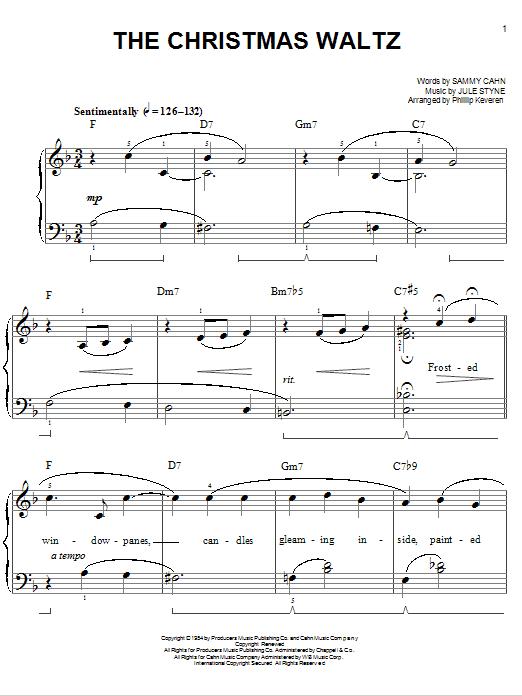 Download Sammy Cahn The Christmas Waltz [Jazz version] (arr. Phillip Keveren) sheet music and printable PDF score & Pop music notes