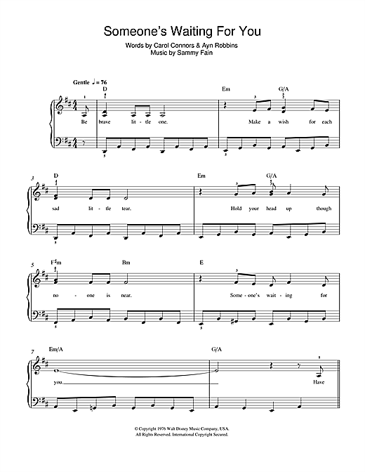 Download Sammy Fain Someone's Waiting For You (from Disney's The Rescuers) sheet music and printable PDF score & Disney music notes