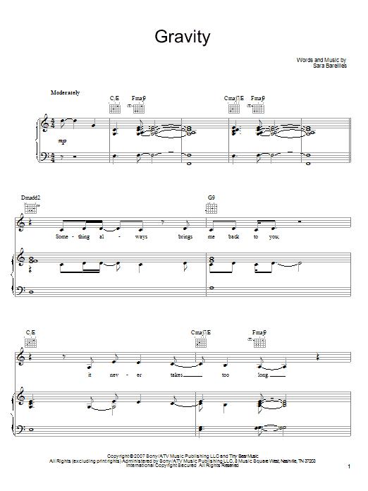 Download Sara Bareilles Gravity sheet music and printable PDF score & Pop music notes