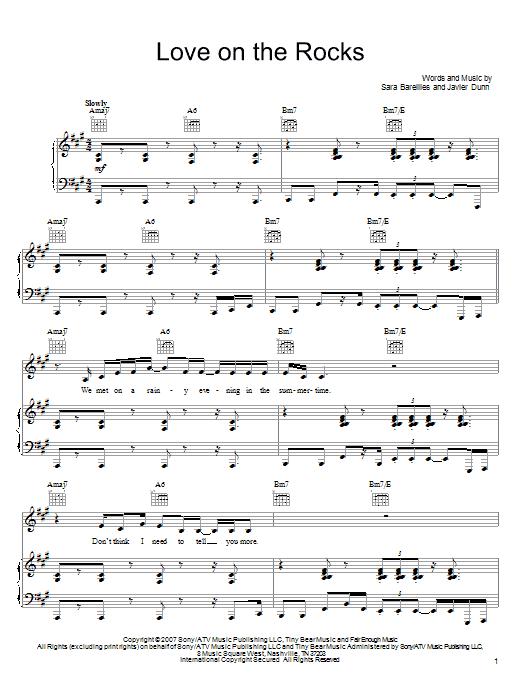 Download Sara Bareilles Love On The Rocks sheet music and printable PDF score & Pop music notes