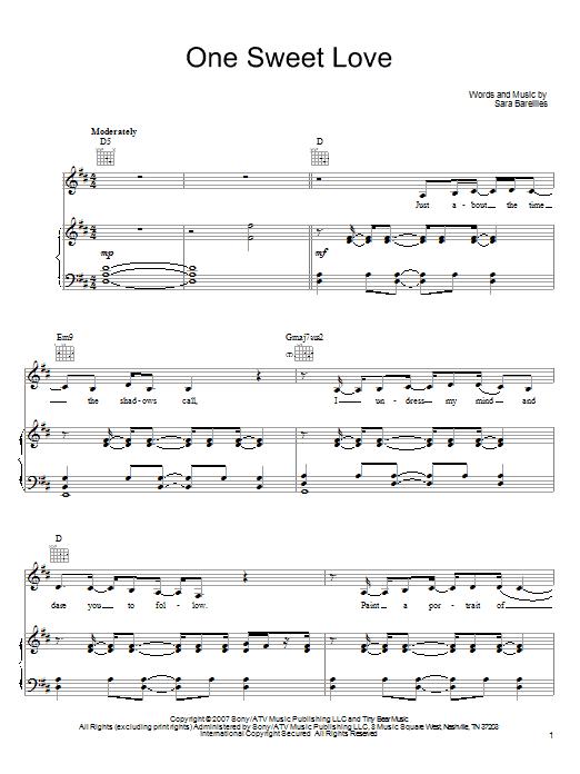 Download Sara Bareilles One Sweet Love sheet music and printable PDF score & Pop music notes