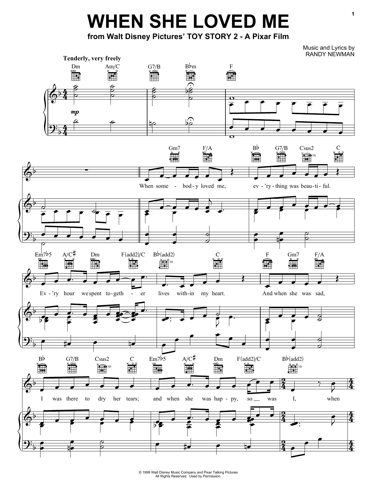 Download Sarah McLachlan When She Loved Me (from Toy Story 2) sheet music and printable PDF score & Pop music notes